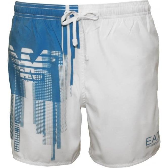 d411cd93c6 Emporio Armani EA7 Sea World BW Eagle Swim Shorts, White/Blue | UnderU