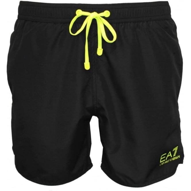 b2b33d36a1 Emporio Armani Sea World BW Core 1 M Boxer Swim Shorts, Black | UnderU
