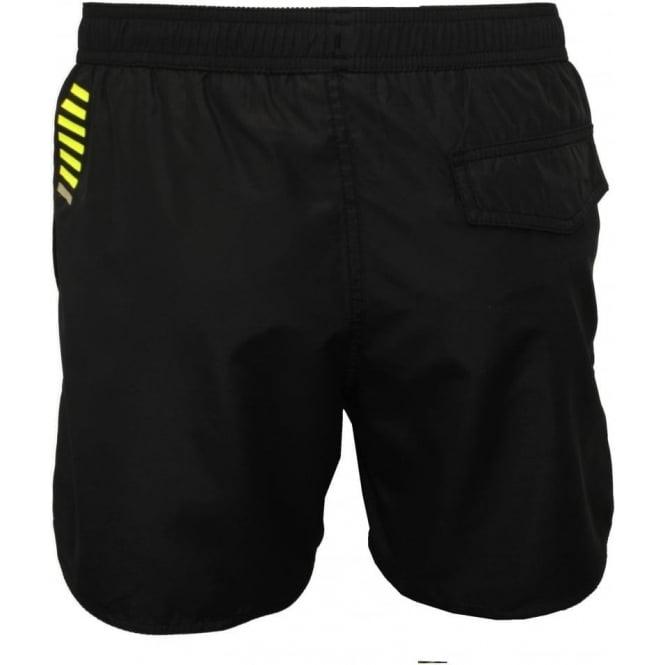1422920207 Emporio Armani Sea World BW Core 1 M Boxer Swim Shorts, Black | UnderU