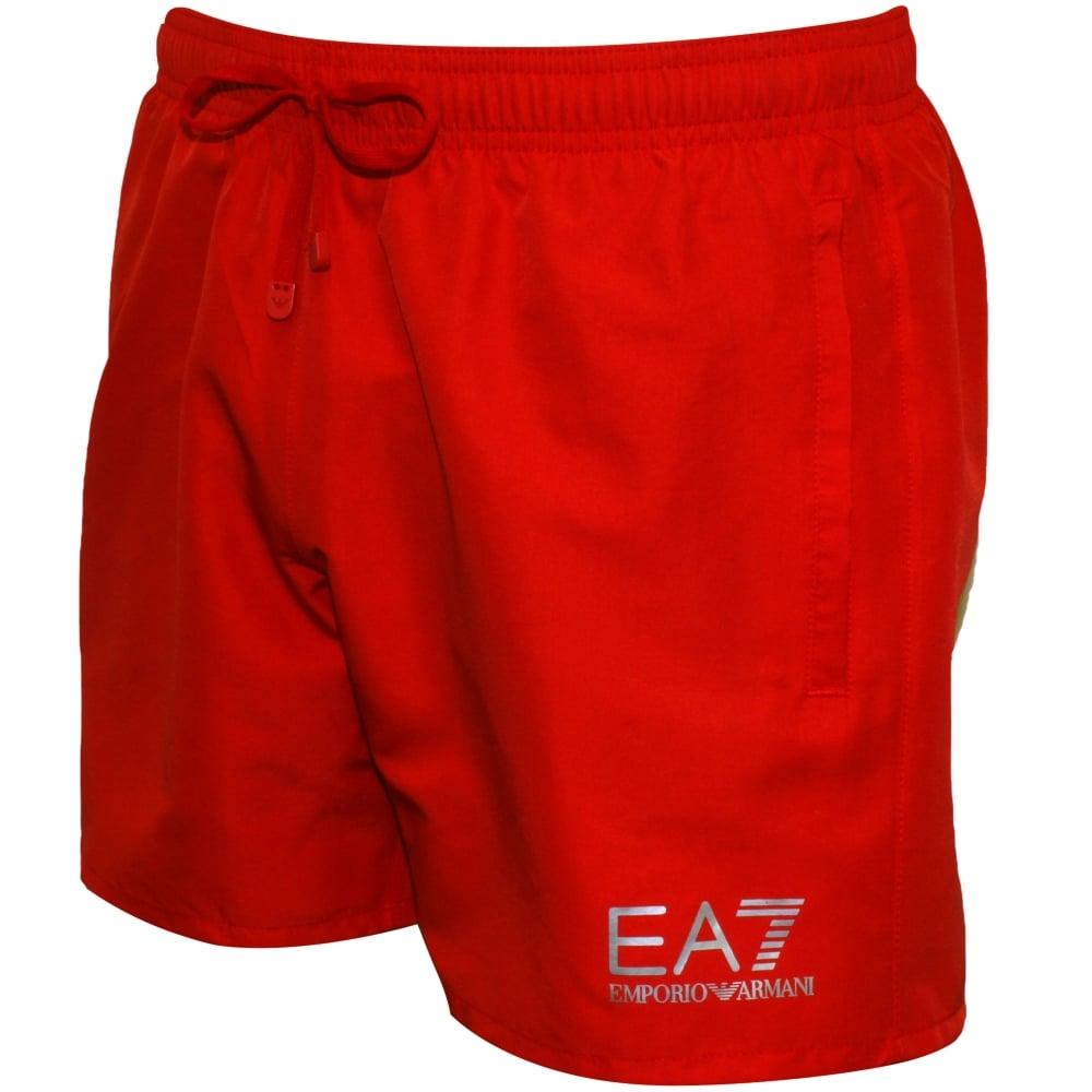 28aaf46045970 Emporio Armani EA7 Swim Shorts, Red | Armani swim shorts | UnderU