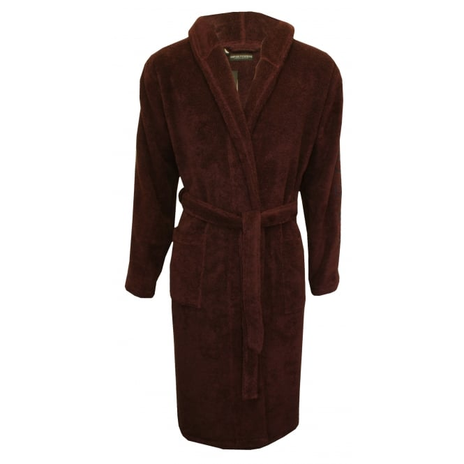 Emporio Armani Jacquard Sponge Premium Hooded Bathrobe, Burgundy/navy