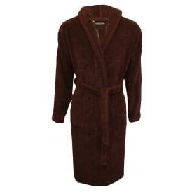 Jacquard Sponge Premium Hooded Bathrobe, Burgundy/navy