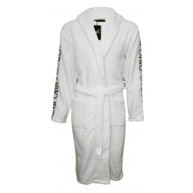 Jacquard Sponge Premium Hooded Bathrobe, White/black