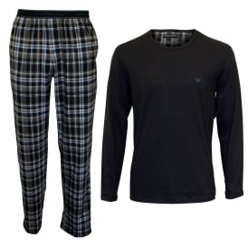 Long-Sleeve & Flannel Bottoms Pyjama Set, Blue Check / Grey Smoke