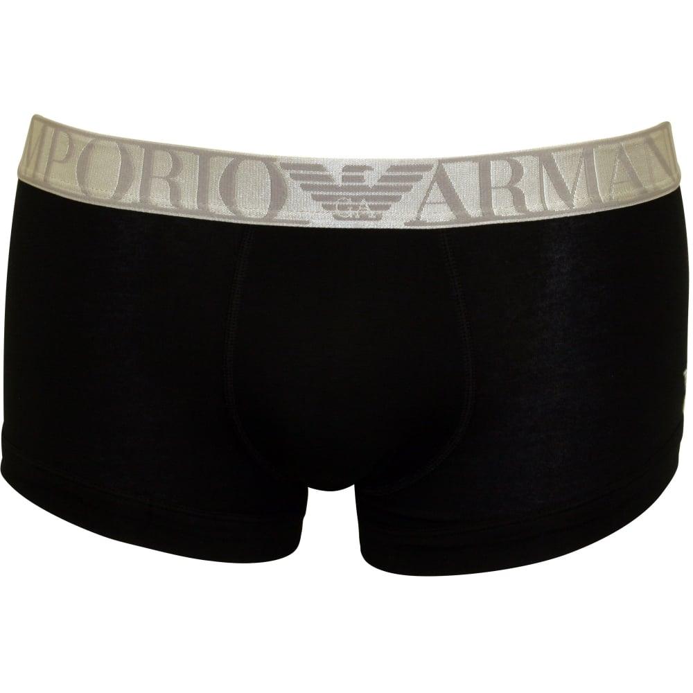 Emporio Armani Microfibre Polyamide Boxer Trunk, Black