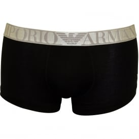 Microfibre Stretch Polyamide Boxer Trunk, Black with silver
