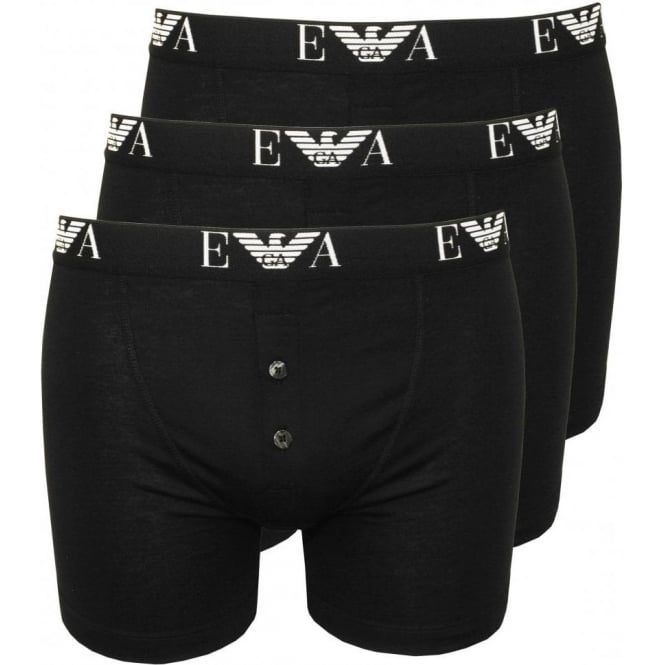 bc1ba45bcbef Emporio Armani Pure Cotton 3 Pack Button-Fly Boxers, Black | UnderU