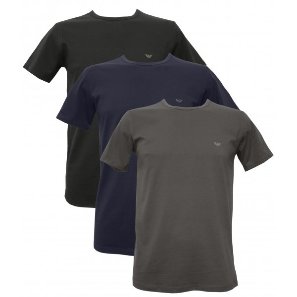 exclusive range run shoes fast delivery Emporio Armani Pure Cotton 3 Pack T-Shirts, Black/Grey/Navy