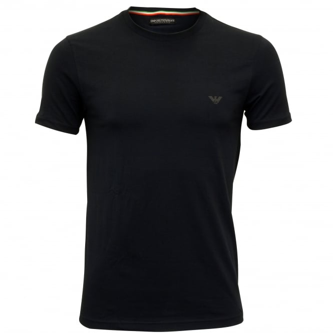 Emporio Armani Pure Cotton Crew-Neck T-Shirt, Navy with blue logo