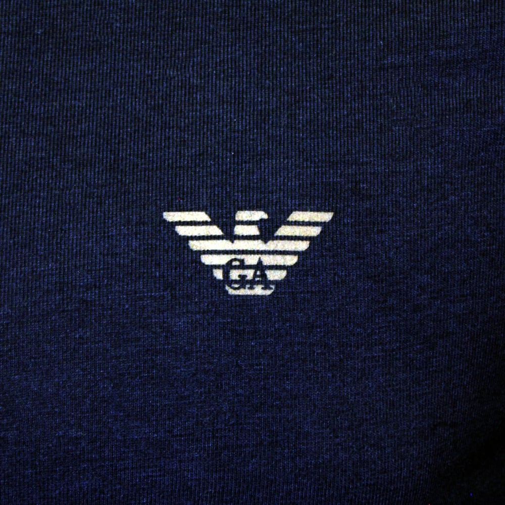 e53f23bb Pure Cotton Crew-Neck T-Shirt, Navy with blue logo