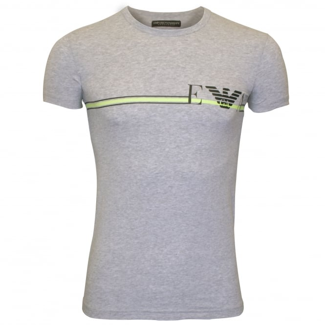 Emporio Armani Striped Logo Stretch Cotton Crew-Neck T-Shirt, Grey Melange