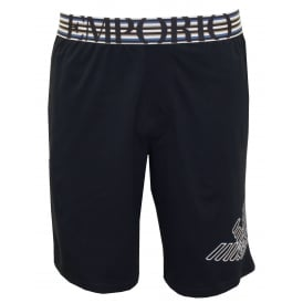 Striped Waist Jersey Cotton Lounge Shorts, Navy