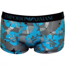 Trendy Under Swim Boxer Trunk, Blue Fancy Print