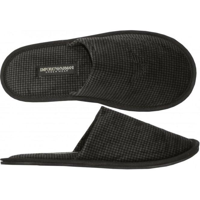 62f5cdc9c437 Emporio Armani Velour Dogtooth Slippers
