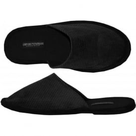 Velour Dogtooth Slippers, Black/Grey