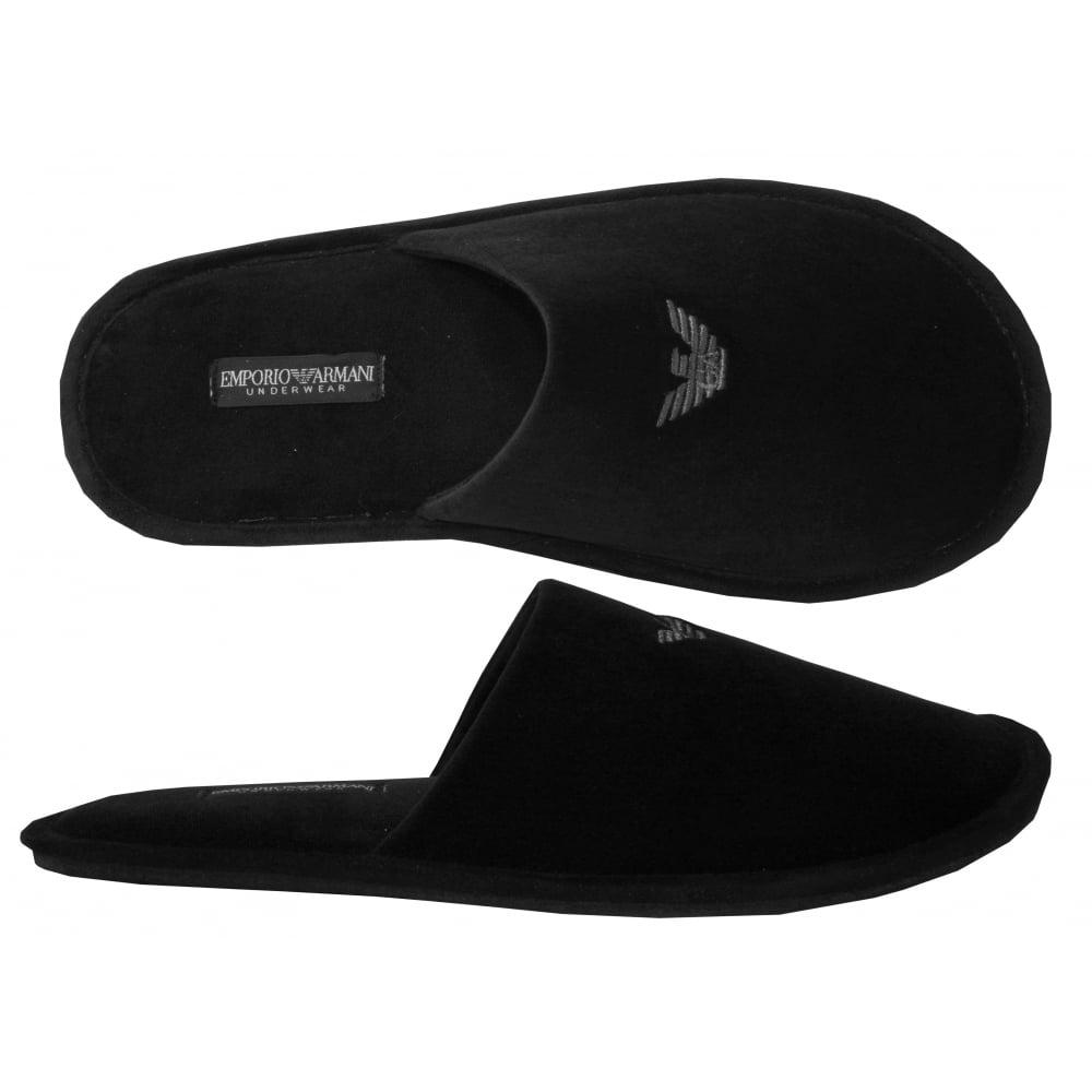 Emporio Armani Velour Slippers, Black