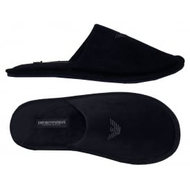 Velour Slippers, Navy