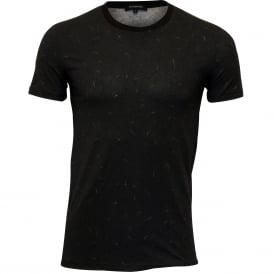 Black Fantasy Stretch Cotton Crew-Neck T-Shirt, Black