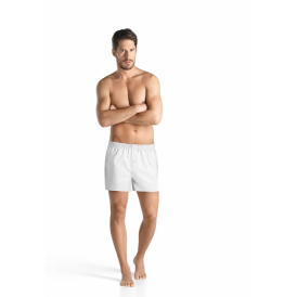 Fancy Woven Button-Fly Boxer Shorts, White