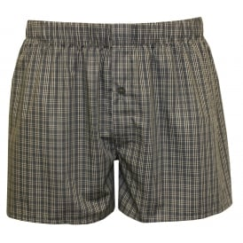 Fancy Woven Checked Button-Fly Boxer Shorts, Grey