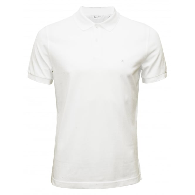 Calvin Klein Fitted Polo Shirt Pima Cotton Pique, White