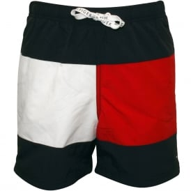 Flag Logo Boys Swim Shorts, Navy/white/red