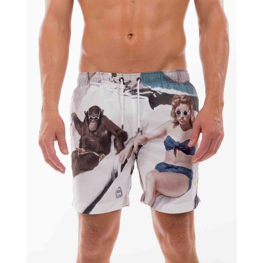 6da40a96d6 Franks Bathers Print Swim Shorts, White | Franks swimwear | UnderU