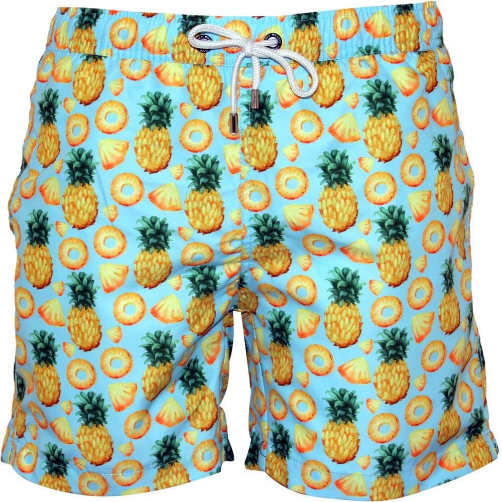 1a9e0a696fea4 Franks Pineapples Print Swim Shorts, Blue | Franks swimwear | UnderU