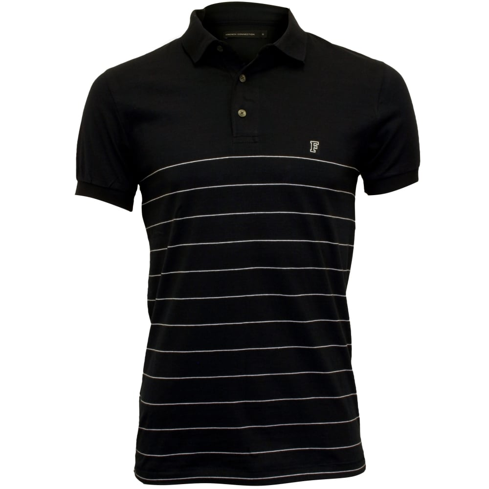 french connection striped pique polo shirt navy white. Black Bedroom Furniture Sets. Home Design Ideas