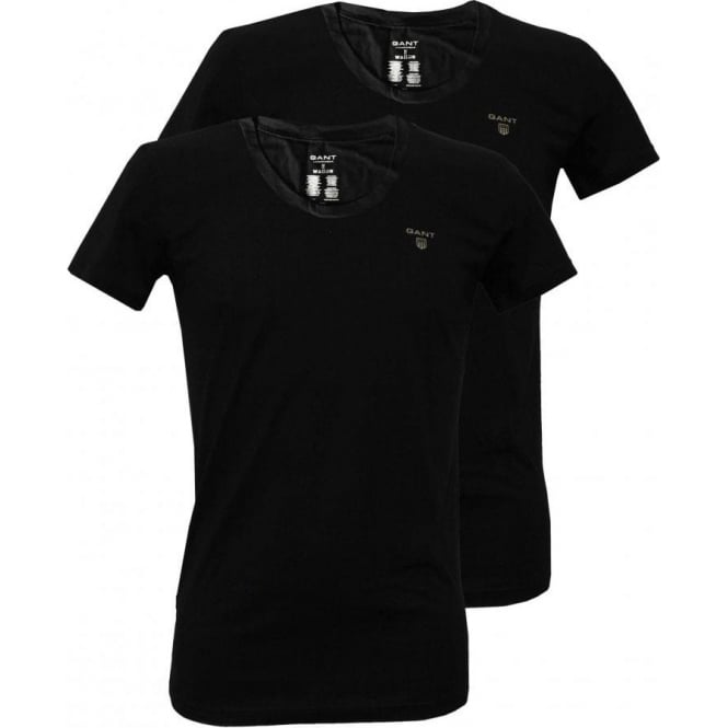 Gant 2-Pack Crew-Neck T-Shirts, Black