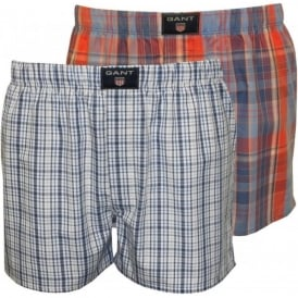 2-Pack Plaid & Check Print Boxer Shorts, Blue/Red