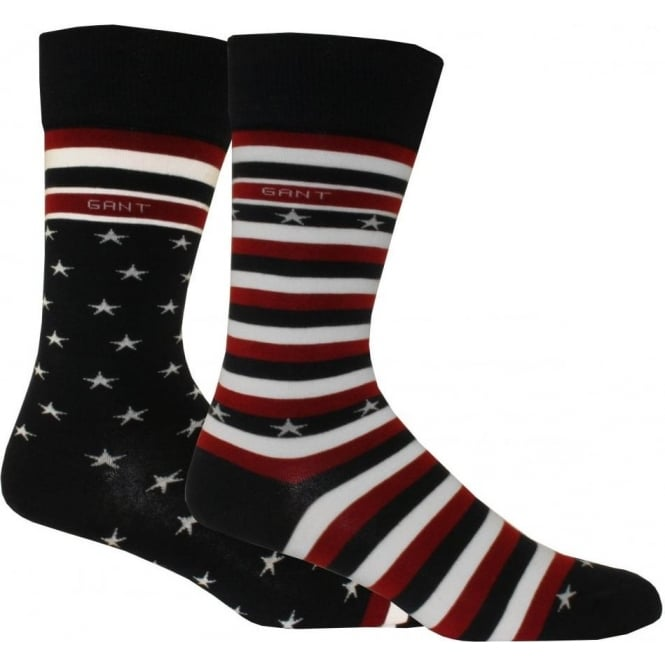 Gant 2-Pack Stars & Stripes Socks Gift Set, Navy/Red/White