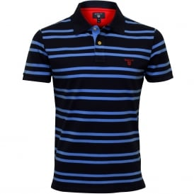 3-Colour Contrast Pique Rugger Polo Shirt, Persian Blue