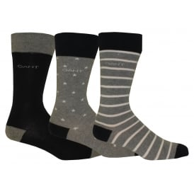 3-Pack Stars & Stripes Socks, Heather Grey/Navy