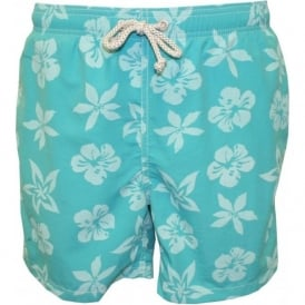 All-over Floral Print Swim Shorts, Turquoise/White