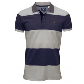 Bar Stripe Oxford Pique Polo Shirt, Navy/White