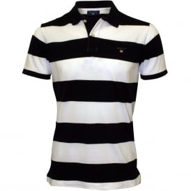 Bar Stripe Pique Rugger Polo Shirt, Navy/White