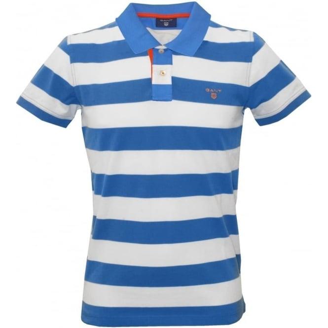 Gant bar stripe polo shirt blue white underu for Blue white striped t shirt mens