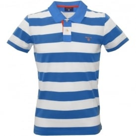 Bar Stripe Polo Shirt, Blue/White