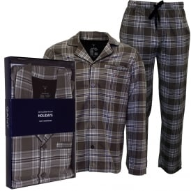 Brushed Flannel Check Pyjama Set Gift Box, Grey Check