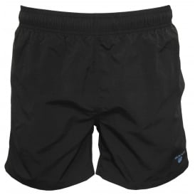 Classic Swim Shorts, Black with blue Logo