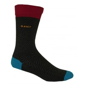 Colour Contrast Herringbone Socks, Dark Grey / Raspberry