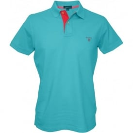 Contrast Collar Pique Rugger Polo Shirt, Blue/Turquoise