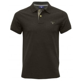 Contrast Collar Pique Rugger Polo Shirt, Dark Anthracite Melange
