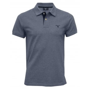 Contrast Collar Pique Rugger Polo Shirt, Denim Blue Melange