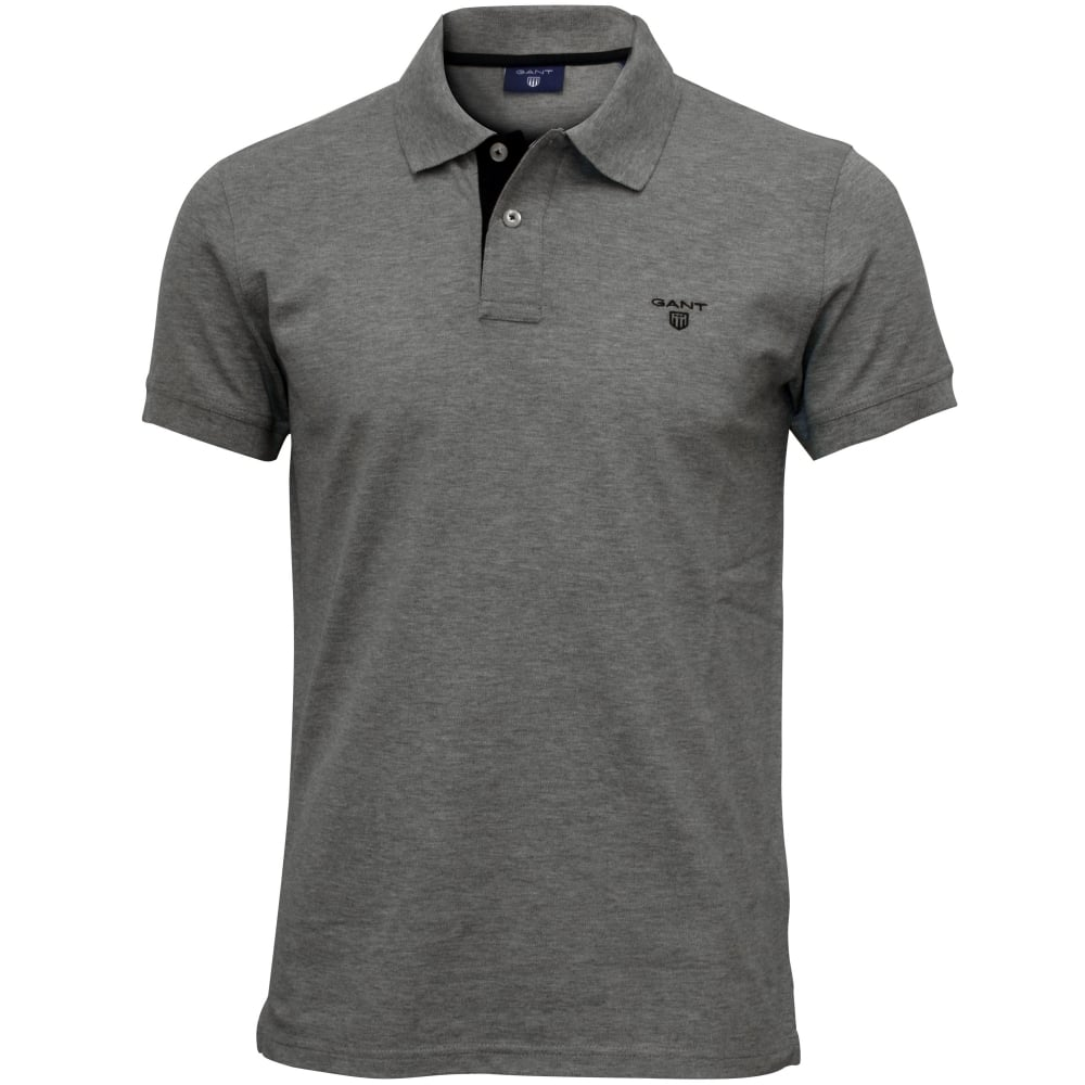 43b3054eb7db Gant Contrast Collar Pique Rugger Polo Shirt, Grey Melange | UnderU