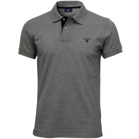 Contrast Collar Pique Rugger Polo Shirt, Grey Melange with navy
