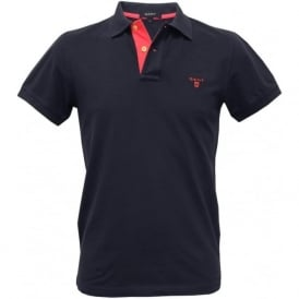 Contrast Collar Pique Rugger Polo Shirt, Navy/Pink