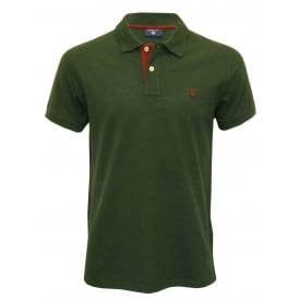 Contrast Collar Pique Rugger Polo Shirt, Tartan Green/Burgundy