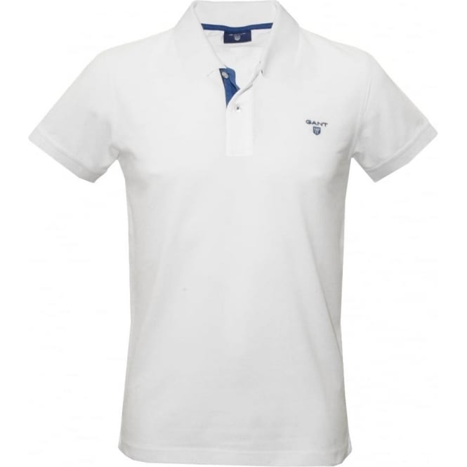 4e98b2306510 Gant Contrast Collar Pique Rugger Polo Shirt, White/Blue | UnderU